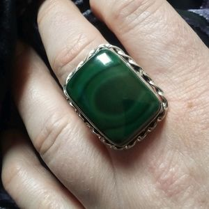 Green Malachite Ring, size 9